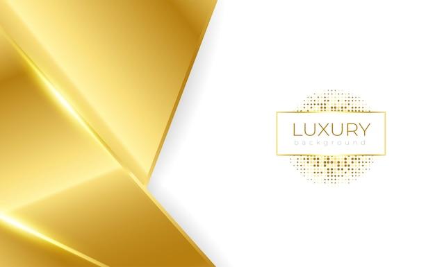 Fundo de luxo geométrico de ouro branco simples com brilho Vetor Premium