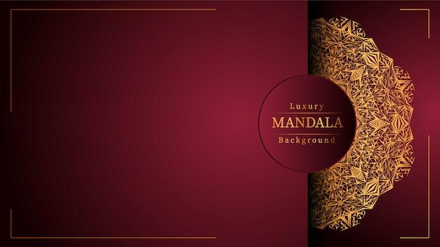 Fundo de luxo mandala ornamental na cor ouro, fundo de luxo mandala para convite de casamento, capa de livro. Vetor Premium