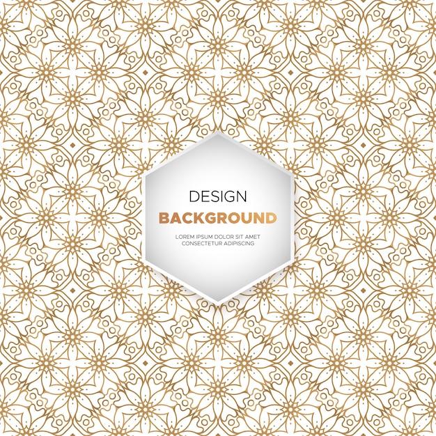 Fundo de luxo ornamental mandala design na cor do ouro Vetor Premium