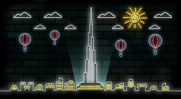 Fundo de luz de néon de viagens e viagem de dubai Vetor Premium