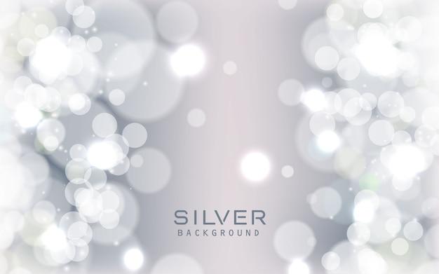 Fundo de luzes brilhantes abstrato prata Vetor Premium