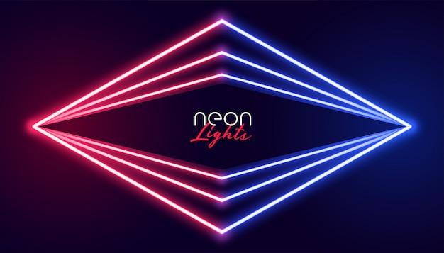 Fundo de luzes de néon abstrata geométrica Vetor grátis