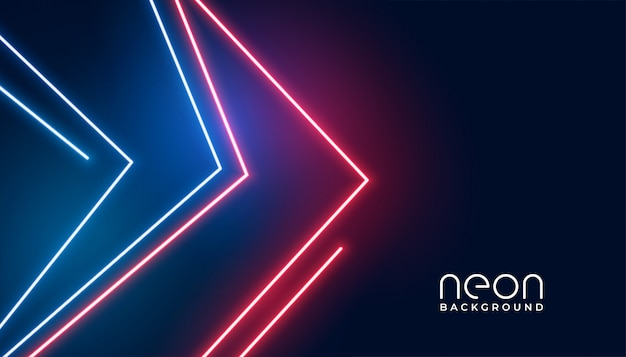 Fundo de luzes de néon estilo geométrico seta Vetor grátis