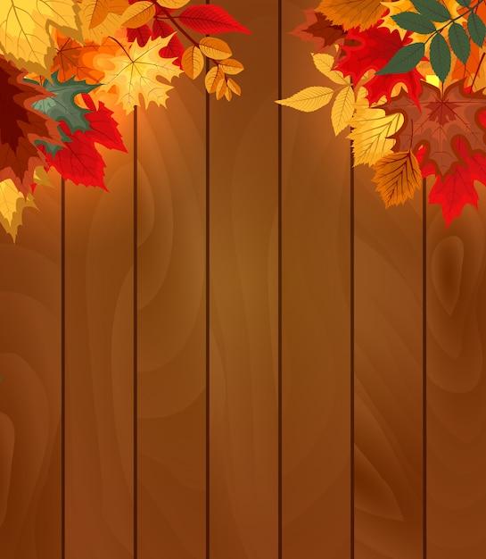 Fundo de madeira com folhas de outono caindo Vetor Premium