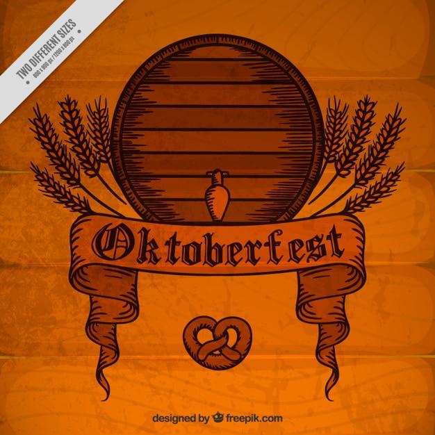 Fundo de madeira do vintage com barril festival oktoberfest Vetor grátis