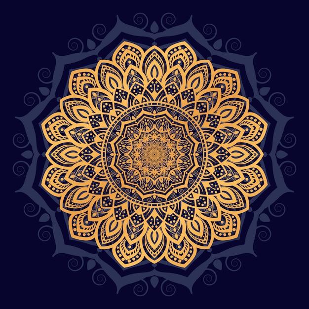 Fundo de mandala de luxo com estilo oriental árabe islâmico árabe de padrão de arabesco Vetor Premium