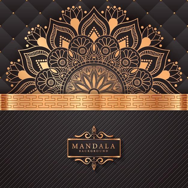 Fundo de mandala de luxo com padrão de arabesco dourado Vetor Premium