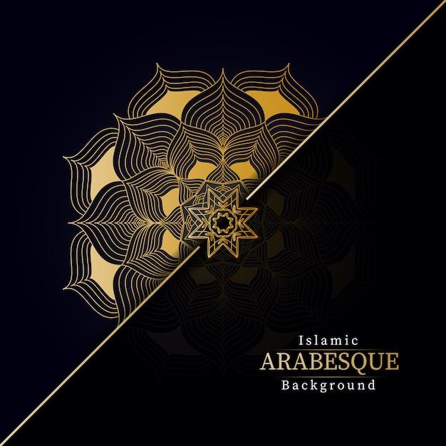 Fundo de mandala de luxo criativo com padrão de arabesco criativo dourado estilo árabe islâmico oriental Vetor Premium