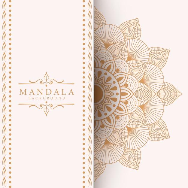 Fundo de mandala de luxo para convite de casamento de capa de livro Vetor Premium