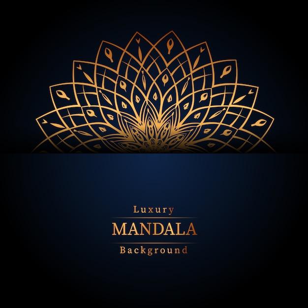 Fundo de mandala ornamental de luxo na cor ouro, fundo de mandala de luxo para convite de casamento, capa de livro Vetor Premium