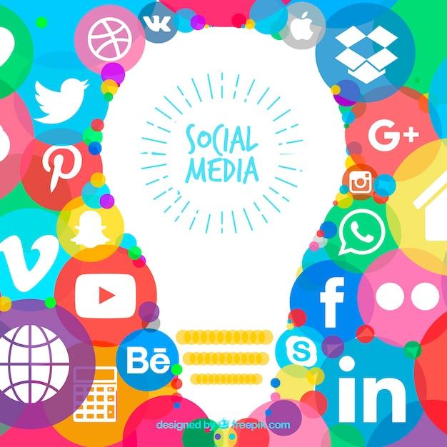 Fundo de mão desenhada com ícones de mídias sociais Vetor grátis