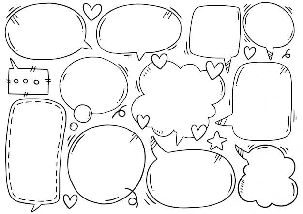 Fundo de mão desenhada conjunto de balão fofo no estilo doodle Vetor Premium