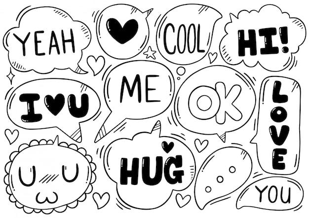 Fundo de mão desenhada conjunto de texto bonito discurso eith bolha no estilo doodle Vetor Premium