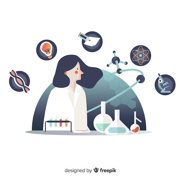 Fundo de mão desenhada químico Vetor grátis