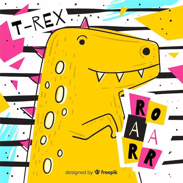Fundo de mão desenhada t-rex Vetor grátis