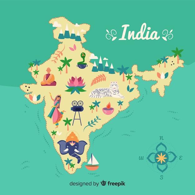 Fundo de mapa de india mão desenhada Vetor grátis
