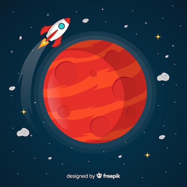 Fundo de marte com nave espacial Vetor grátis