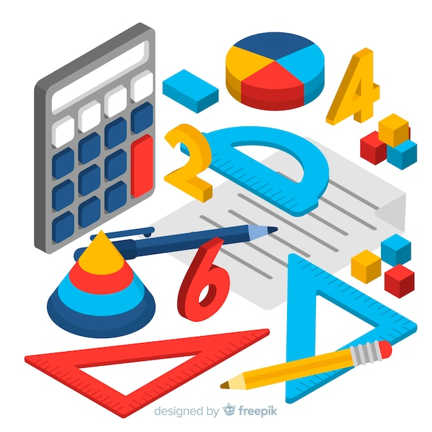 Fundo de material de matemática isométrica Vetor grátis