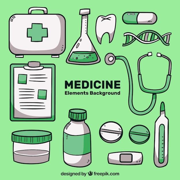 Fundo de medicina com elementos Vetor grátis