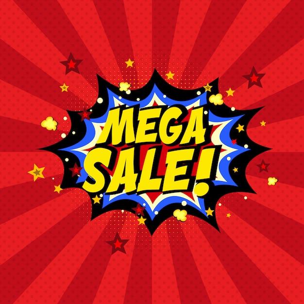 Fundo de mega venda em quadrinhos Vetor Premium