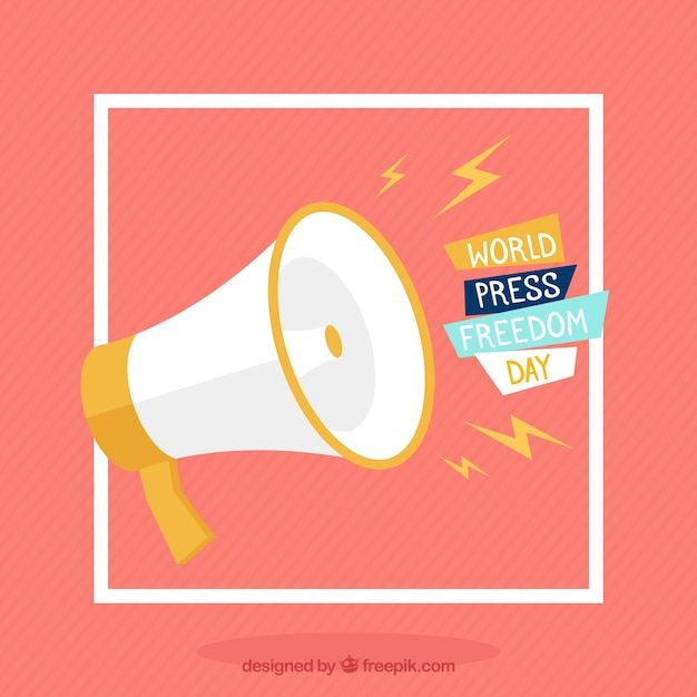 Fundo de megafone para o dia da liberdade de imprensa mundial Vetor grátis
