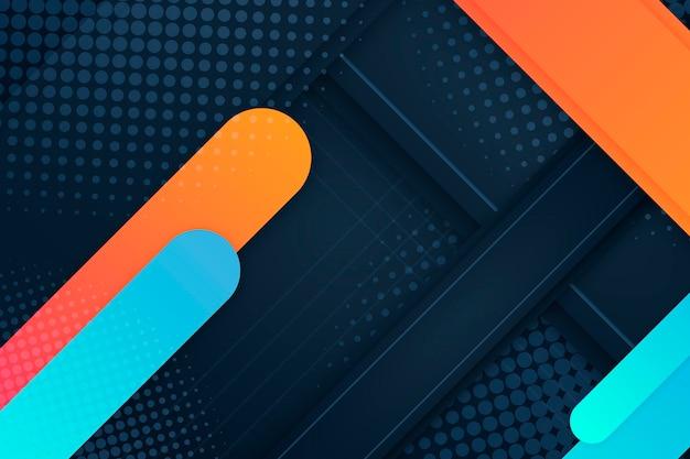 Fundo de meio-tom de linhas laranja e azul Vetor Premium