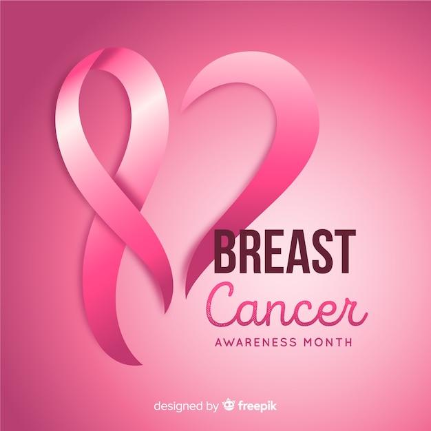 Fundo de mês de conscientização de câncer de mama Vetor grátis