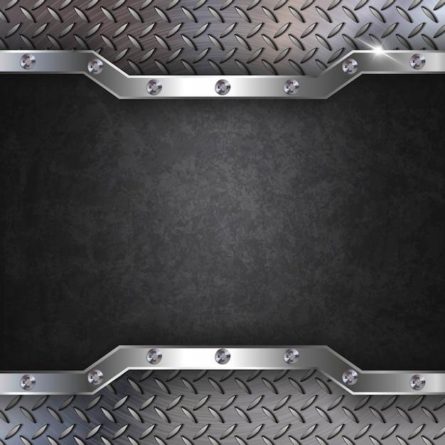 Fundo de metal aço preto Vetor Premium