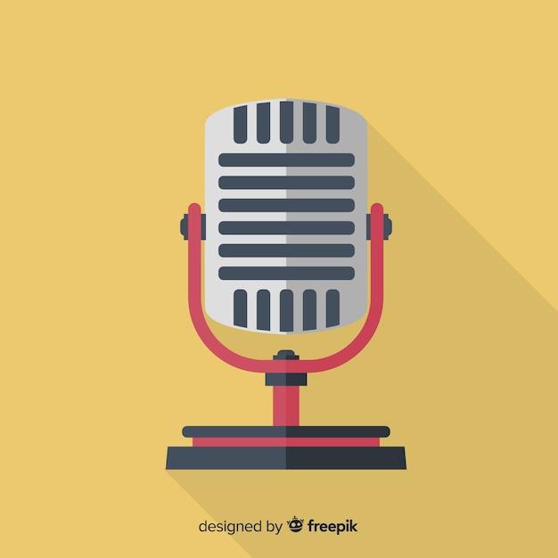 Fundo de microfone retrô plana Vetor grátis