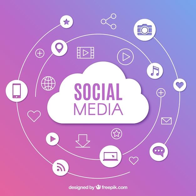 Fundo de mídia social com design plano Vetor grátis