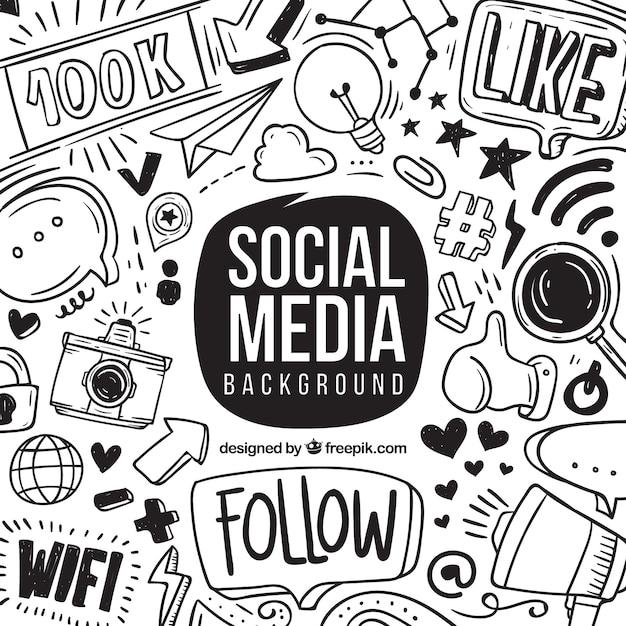 Fundo de mídia social com elementos de mão desenhada Vetor grátis