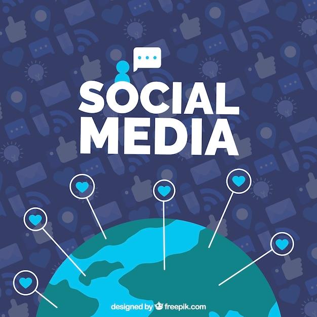 Fundo de mídia social plana com mundo grlobe Vetor grátis