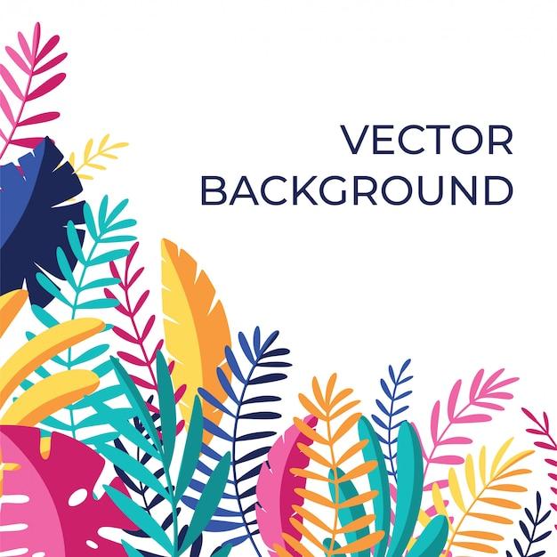 Fundo de mídia tropical Vetor Premium
