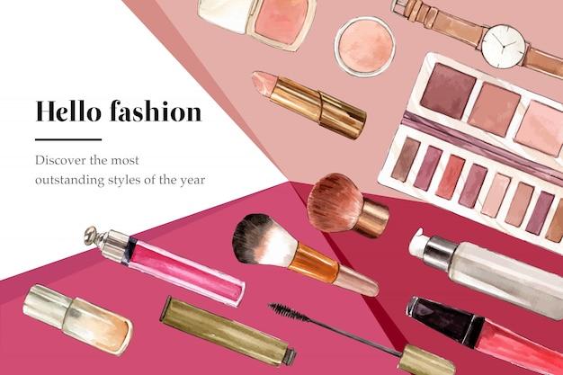 Fundo de moda com relógio e cosméticos Vetor grátis
