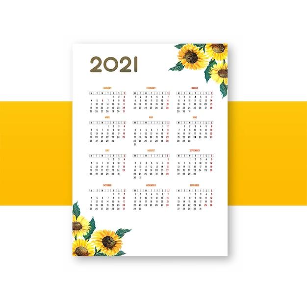 Fundo de modelo de calendário de bela flor 2021 Vetor grátis