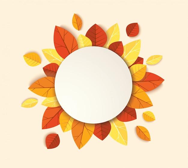 Fundo de modelo de folhas de outono Vetor Premium
