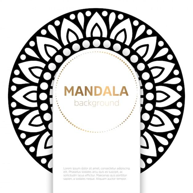 Fundo de modelo de mandala preto e branco Vetor grátis