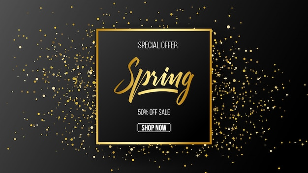Fundo de modelo de venda de oferta especial de primavera Vetor Premium