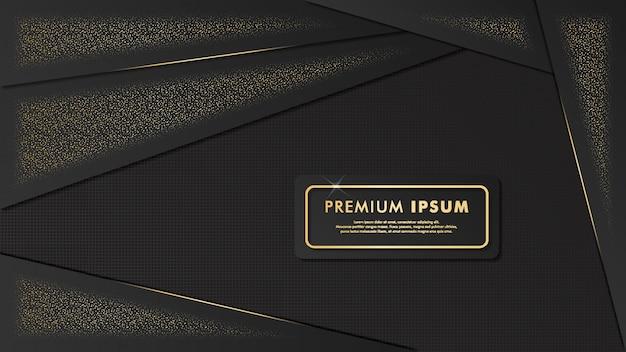 Fundo de modelo fantasia preto-ouro Vetor Premium