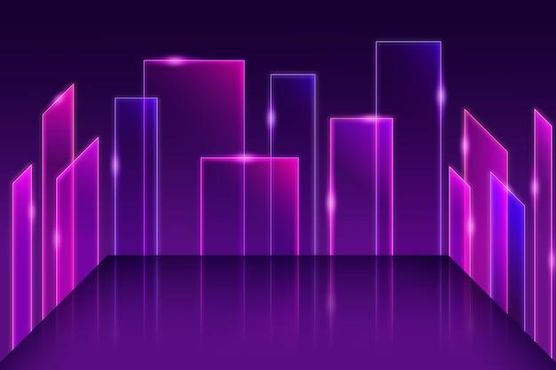 Fundo de modelos geométricos de luzes de néon Vetor grátis
