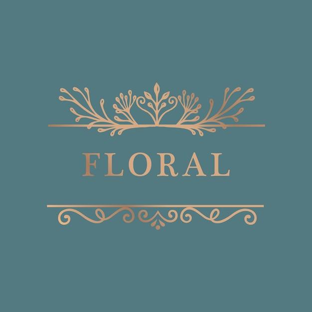 Fundo de moldura de ouro floral Vetor grátis