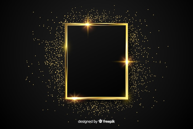 Fundo de moldura dourada cintilante de luxo Vetor Premium