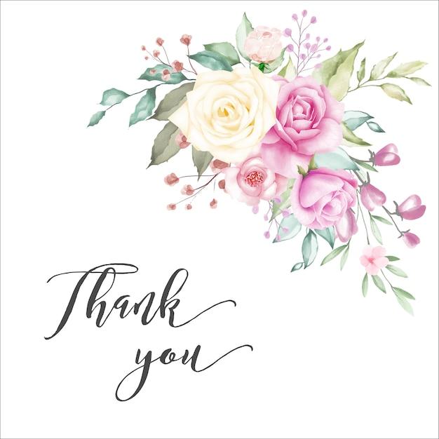 Fundo de moldura floral aquarela Vetor Premium
