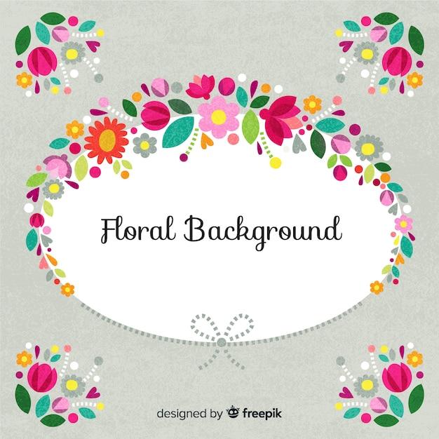 Fundo de moldura oval floral Vetor grátis
