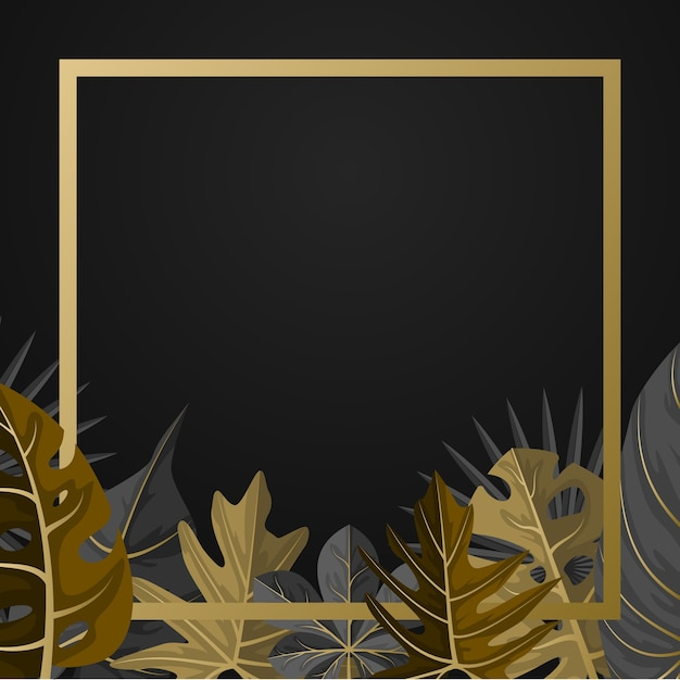 Fundo de moldura quadrada de folha de verão tropical dourada Vetor Premium