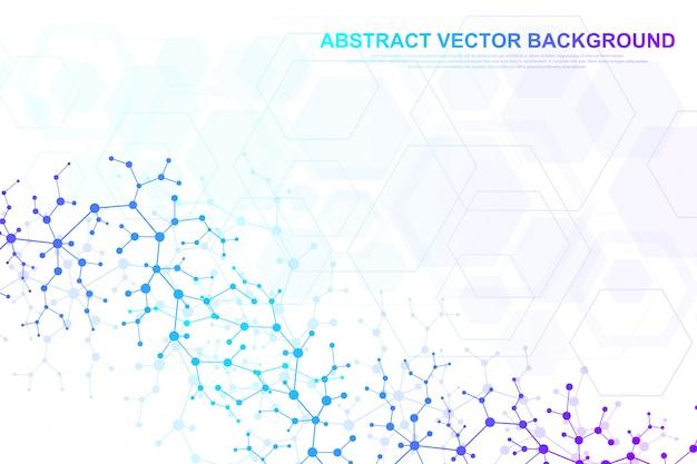 Fundo de molécula científica para medicina, ciência, tecnologia, química. Vetor Premium