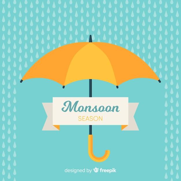 Fundo de monção com guarda-chuva Vetor grátis