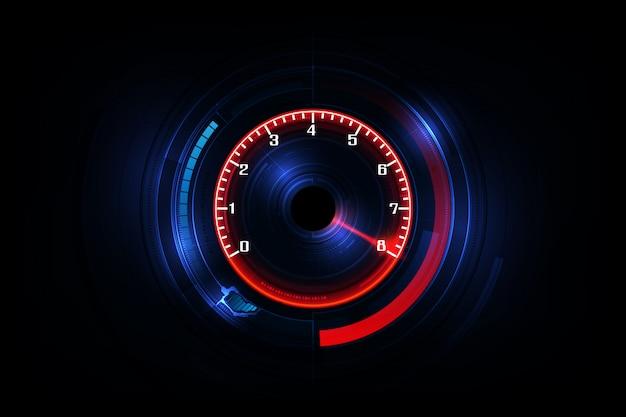 Fundo de movimento de velocidade com carro de velocímetro rápido Vetor Premium
