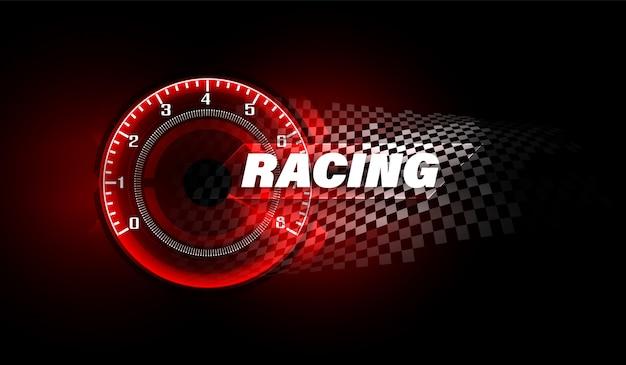 Fundo de movimento de velocidade com carro velocímetro rápido. fundo de velocidade de corrida. Vetor Premium