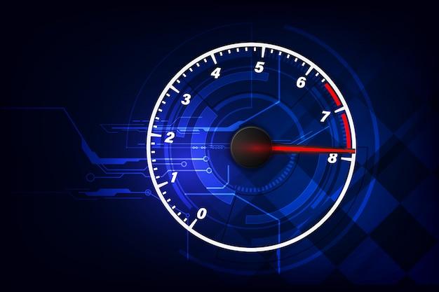 Fundo de movimento de velocidade com carro velocímetro rápido. velocidade de corrida Vetor Premium